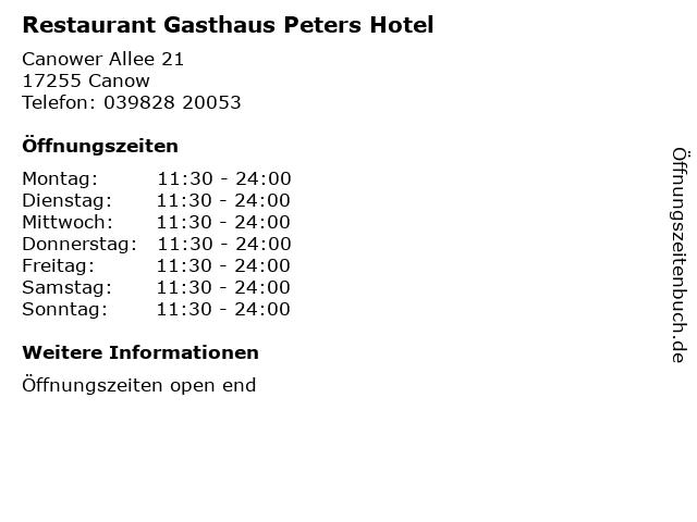 Restaurant Gasthaus Peters Hotel in Canow: Adresse und Öffnungszeiten