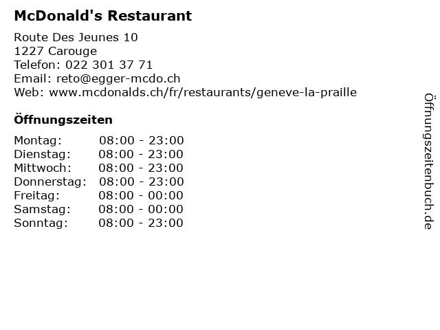 McDonald's Restaurant in Carouge: Adresse und Öffnungszeiten
