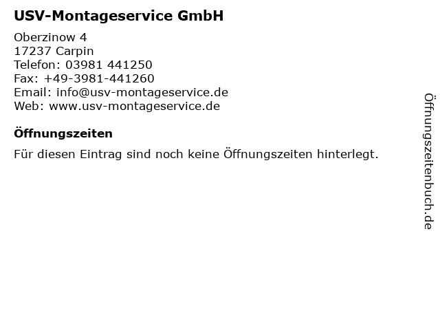 USV-Montageservice GmbH in Carpin: Adresse und Öffnungszeiten