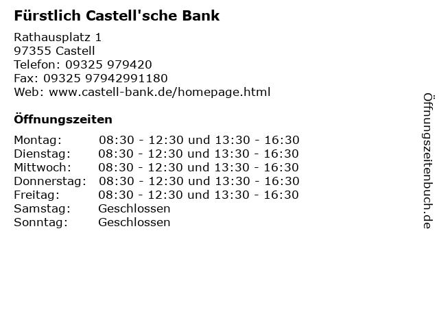 Fürstlich Castell'sche Bank in Castell: Adresse und Öffnungszeiten