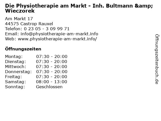 Die Physiotherapie am Markt - Inh. Bultmann & Wieczorek in Castrop Rauxel: Adresse und Öffnungszeiten