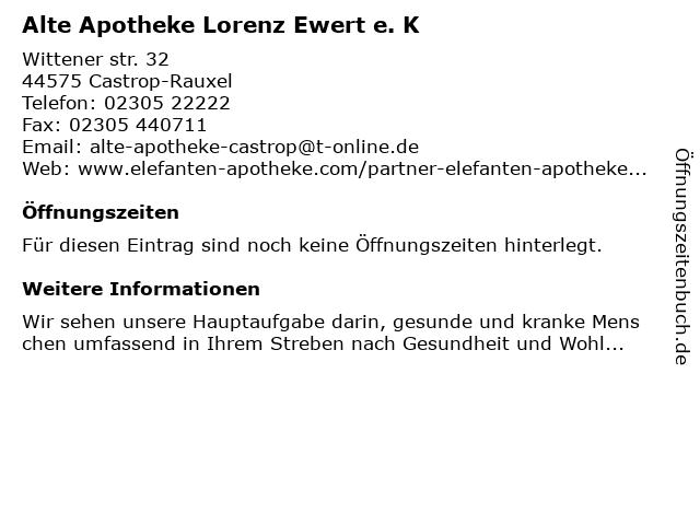 Alte Apotheke in Castrop-Rauxel: Adresse und Öffnungszeiten