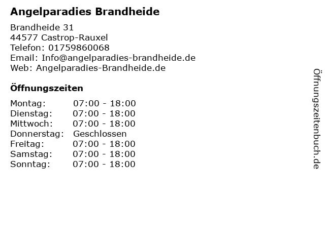 Angelparadies Brandheide (Okt - März) in Castrop-Rauxel: Adresse und Öffnungszeiten