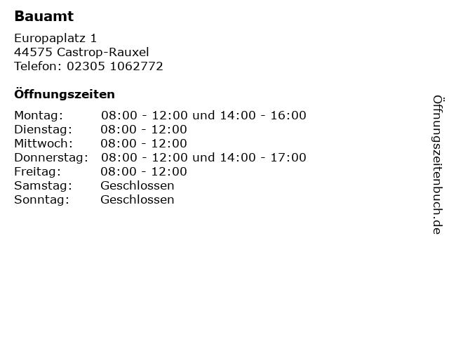 Bauamt in Castrop-Rauxel: Adresse und Öffnungszeiten