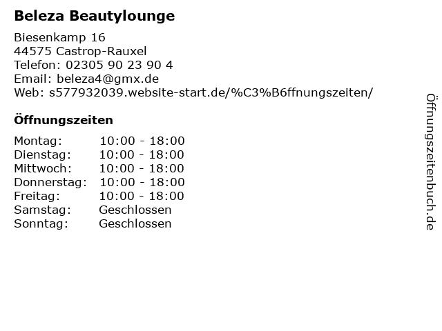 Beleza Beautylounge in Castrop-Rauxel: Adresse und Öffnungszeiten