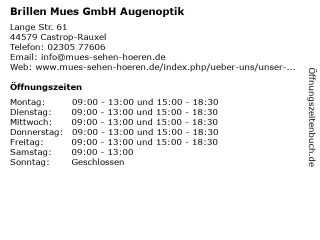 Brillen Mues GmbH Augenoptik in Castrop-Rauxel: Adresse und Öffnungszeiten