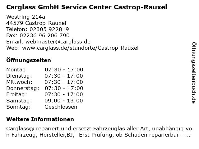 Carglass GmbH Service Center Castrop-Rauxel in Castrop-Rauxel: Adresse und Öffnungszeiten