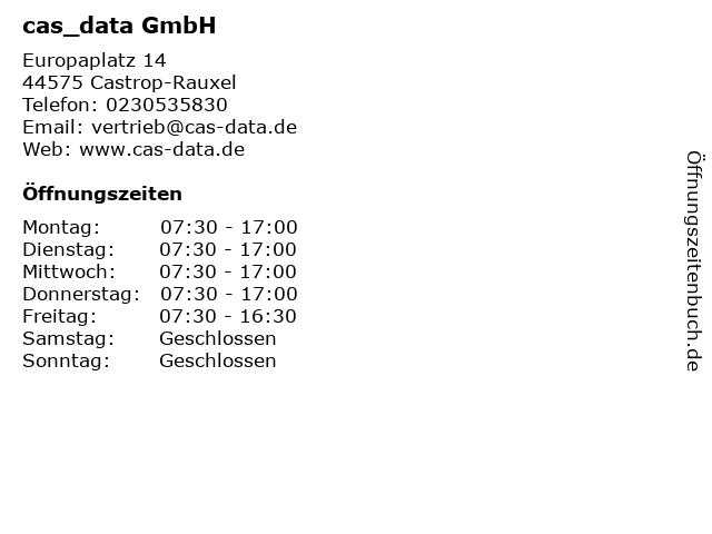 Cas data GmbH in Castrop-Rauxel: Adresse und Öffnungszeiten