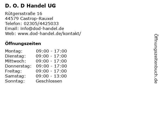 D. O. D Handel UG in Castrop-Rauxel: Adresse und Öffnungszeiten