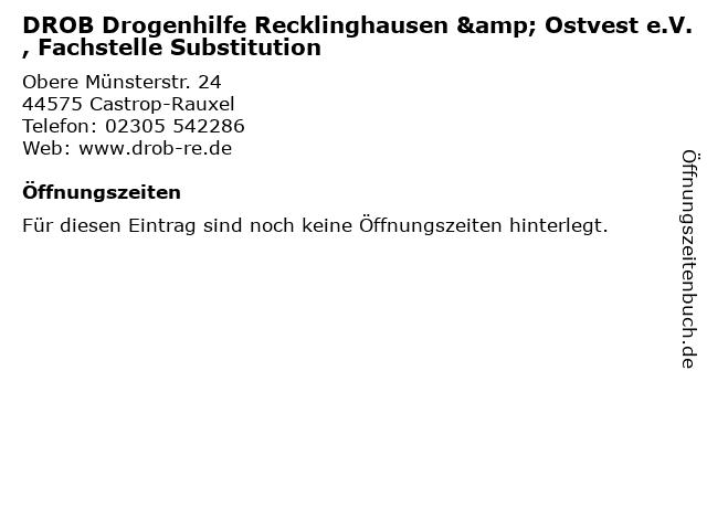 DROB Drogenhilfe Recklinghausen & Ostvest e.V., Fachstelle Substitution in Castrop-Rauxel: Adresse und Öffnungszeiten