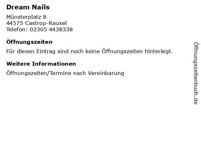 Dream Nails in Castrop-Rauxel: Adresse und Öffnungszeiten