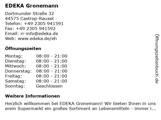 EDEKA Gronemann in Castrop-Rauxel: Adresse und Öffnungszeiten