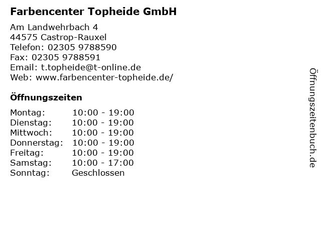 Farbencenter Topheide GmbH in Castrop-Rauxel: Adresse und Öffnungszeiten