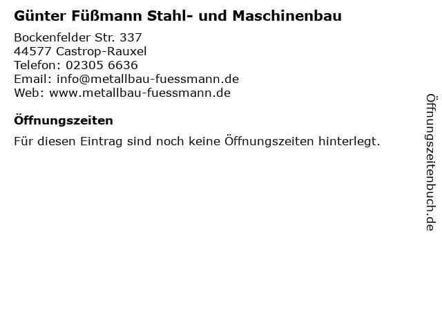 Günter Füßmann Stahl- und Maschinenbau in Castrop-Rauxel: Adresse und Öffnungszeiten
