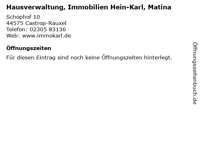 Hausverwaltung, Immobilien Hein-Karl, Matina in Castrop-Rauxel: Adresse und Öffnungszeiten