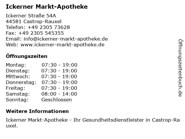 Ickerner Markt-Apotheke in Castrop-Rauxel: Adresse und Öffnungszeiten