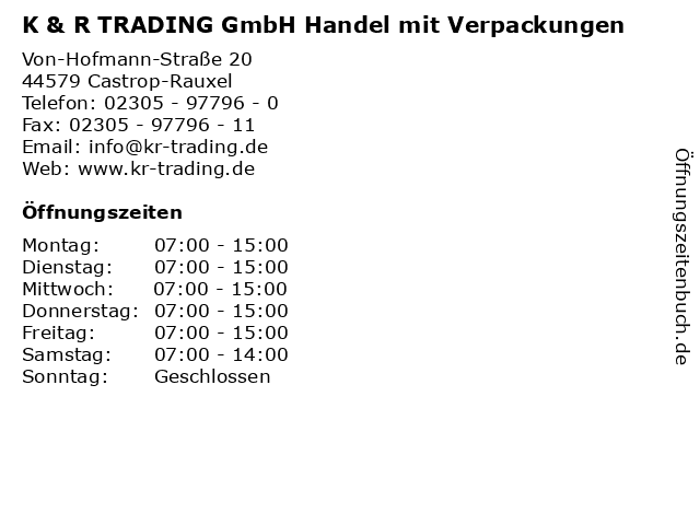 K & R TRADING GmbH Handel mit Verpackungen in Castrop-Rauxel: Adresse und Öffnungszeiten