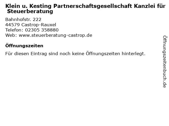 Klein u. Kesting Partnerschaftsgesellschaft Kanzlei für Steuerberatung in Castrop-Rauxel: Adresse und Öffnungszeiten