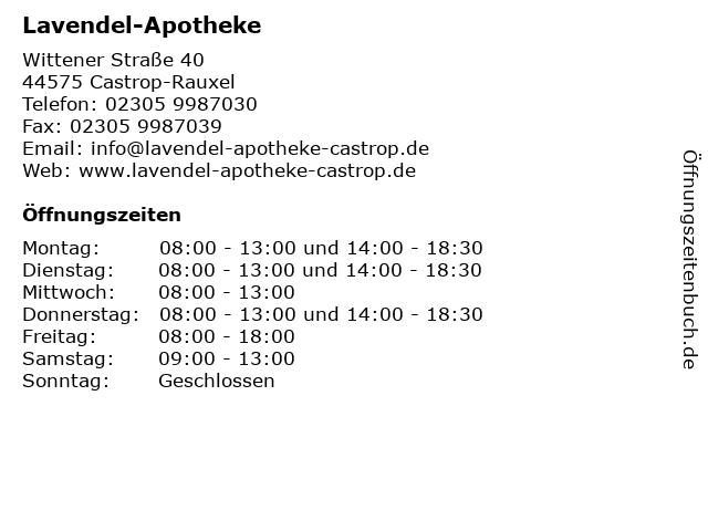 Lavendel-Apotheke in Castrop-Rauxel: Adresse und Öffnungszeiten