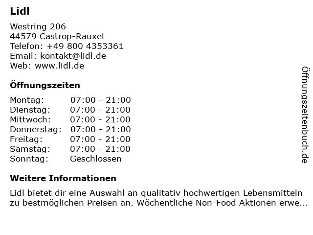 Lidl in Castrop-Rauxel: Adresse und Öffnungszeiten