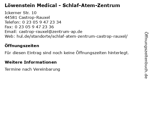 Löwenstein Medical - Schlaf-Atem-Zentrum in Castrop-Rauxel: Adresse und Öffnungszeiten