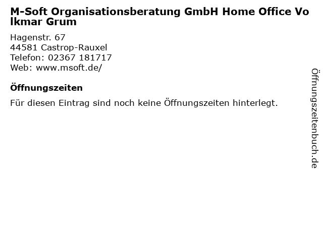 M-Soft Organisationsberatung GmbH Home Office Volkmar Grum in Castrop-Rauxel: Adresse und Öffnungszeiten