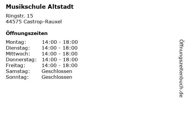 Musikschule Altstadt in Castrop-Rauxel: Adresse und Öffnungszeiten