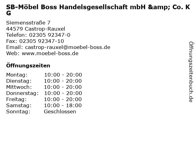 "ᐅ Öffnungszeiten ""SB-Möbel Boss Handelsgesellschaft mbH ..."