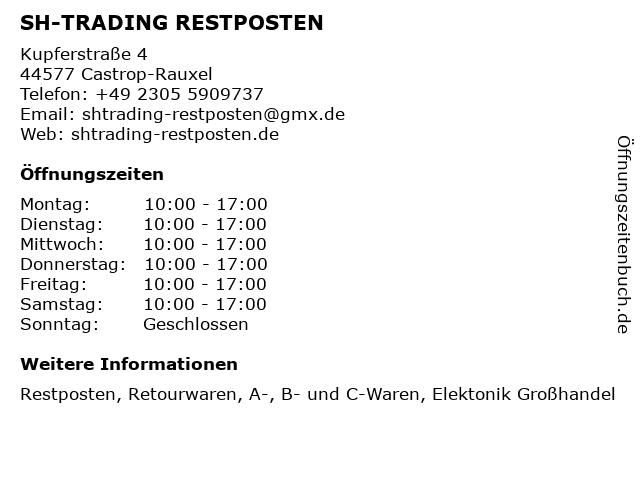 SH-TRADING RESTPOSTEN in Castrop-Rauxel: Adresse und Öffnungszeiten
