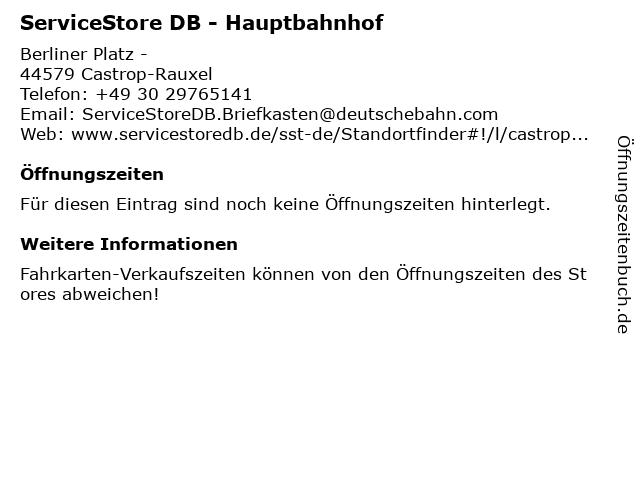 ServiceStore DB - Hauptbahnhof in Castrop-Rauxel: Adresse und Öffnungszeiten