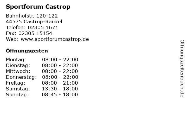 Sportforum Castrop in Castrop-Rauxel: Adresse und Öffnungszeiten