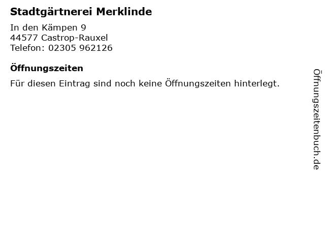 Stadtgärtnerei Merklinde in Castrop-Rauxel: Adresse und Öffnungszeiten