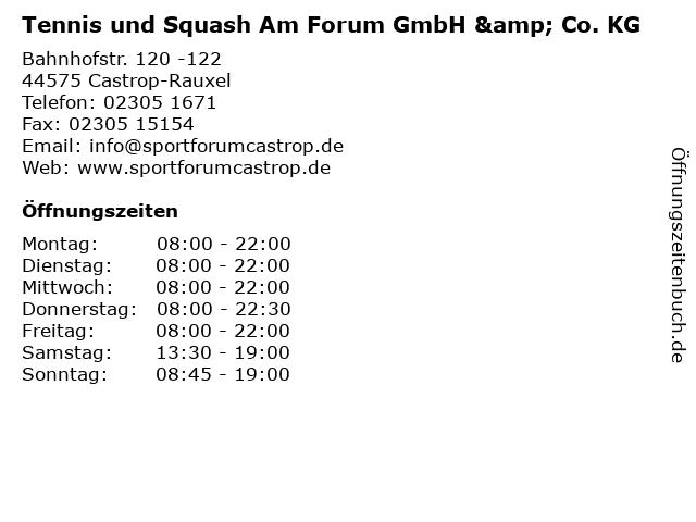Tennis und Squash Am Forum GmbH & Co. KG in Castrop-Rauxel: Adresse und Öffnungszeiten