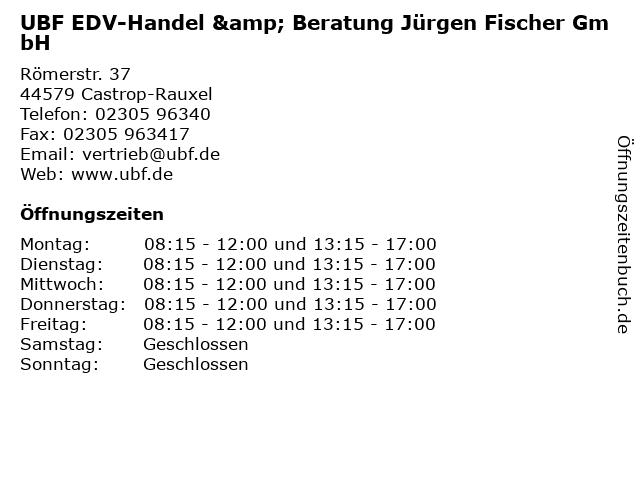 UBF EDV-Handel & Beratung Jürgen Fischer GmbH in Castrop-Rauxel: Adresse und Öffnungszeiten