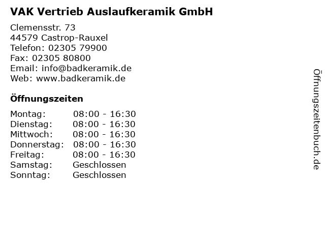 Badkeramik De.ᐅ Offnungszeiten Vak Vertrieb Auslaufkeramik Gmbh Clemensstr