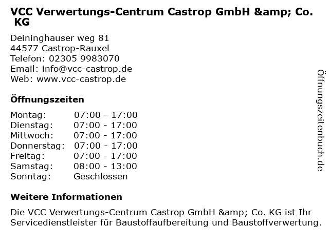 VCC Verwertungs-Centrum Castrop GmbH & Co. KG in Castrop-Rauxel: Adresse und Öffnungszeiten