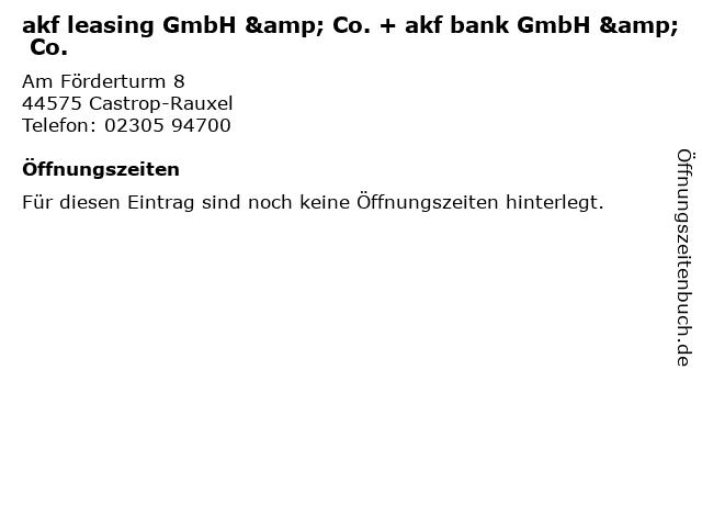 akf leasing GmbH & Co. + akf bank GmbH & Co. in Castrop-Rauxel: Adresse und Öffnungszeiten