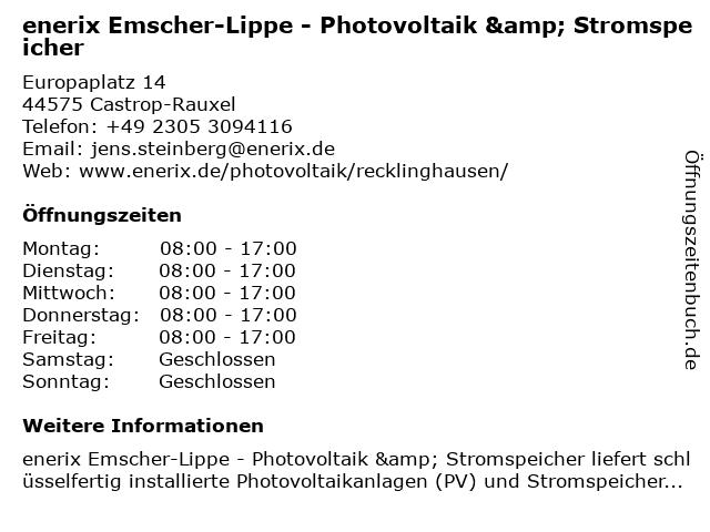 enerix Emscher-Lippe - Photovoltaik & Stromspeicher in Castrop-Rauxel: Adresse und Öffnungszeiten