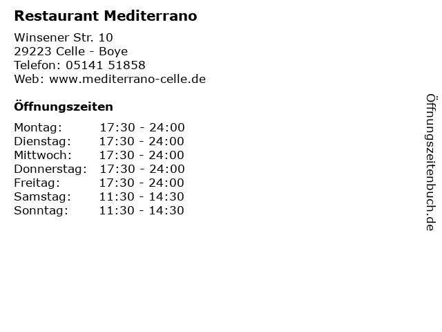 Restaurant Mediterrano in Celle - Boye: Adresse und Öffnungszeiten