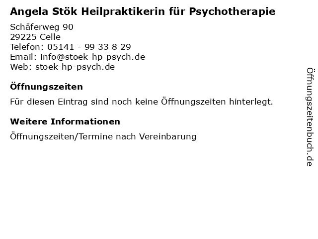 Angela Stök Heilpraktikerin für Psychotherapie in Celle: Adresse und Öffnungszeiten