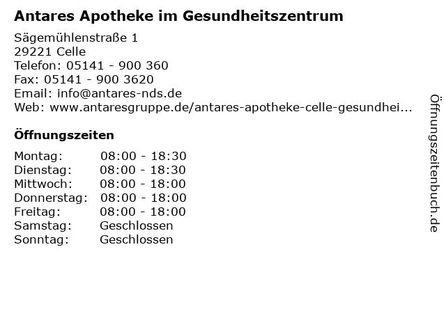 Antares Apotheke im Gesundheitszentrum in Celle: Adresse und Öffnungszeiten