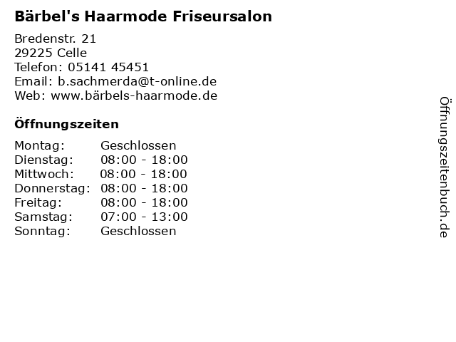 Bärbel's Haarmode Friseursalon in Celle: Adresse und Öffnungszeiten