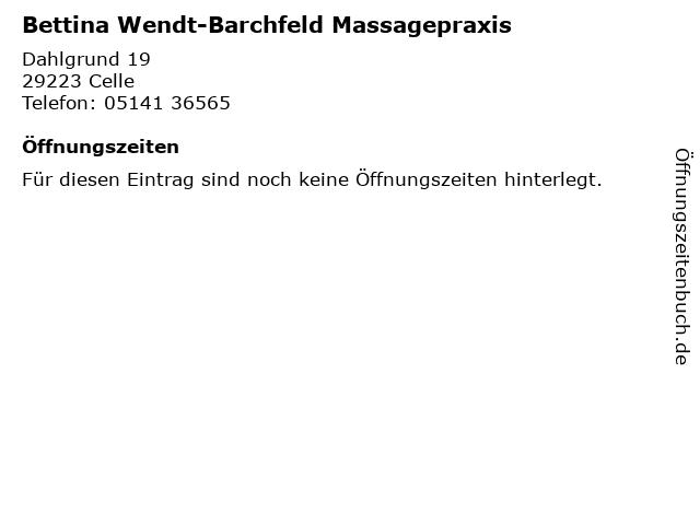 Bettina Wendt-Barchfeld Massagepraxis in Celle: Adresse und Öffnungszeiten
