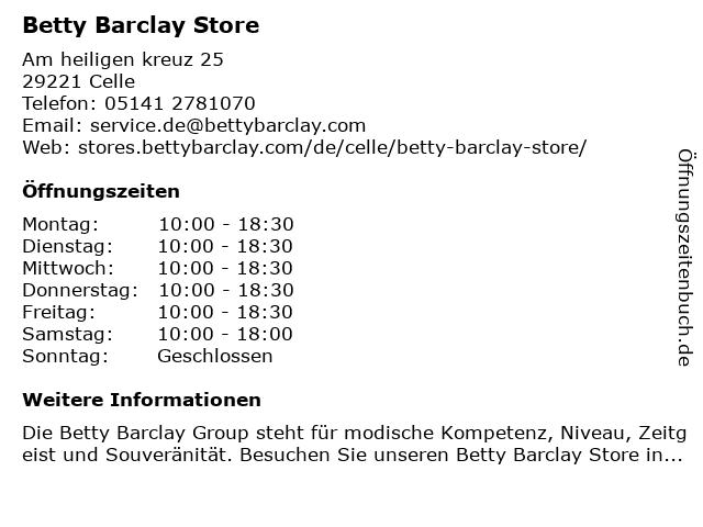 Betty Barclay Store in Celle: Adresse und Öffnungszeiten