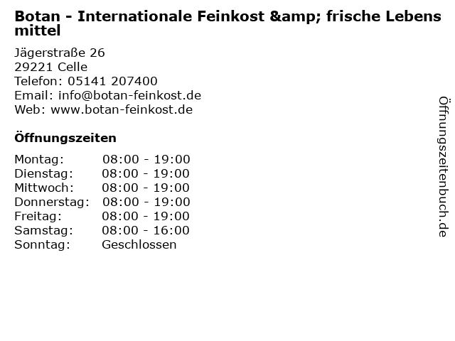 Botan - Internationale Feinkost & frische Lebensmittel in Celle: Adresse und Öffnungszeiten