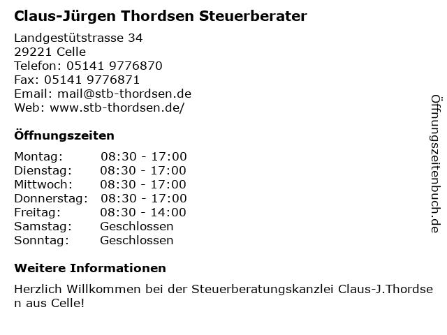 Claus-Jürgen Thordsen Steuerberater in Celle: Adresse und Öffnungszeiten