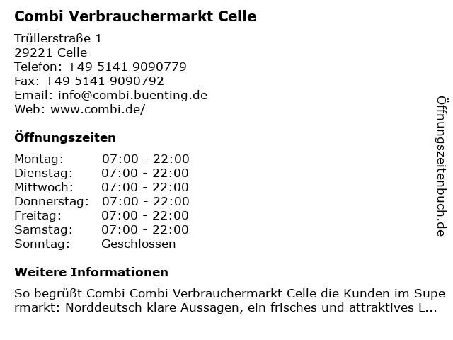 Combi Verbrauchermarkt Celle in Celle: Adresse und Öffnungszeiten