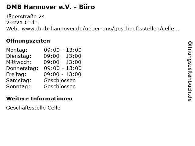 DMB Hannover e.V. - Büro in Celle: Adresse und Öffnungszeiten