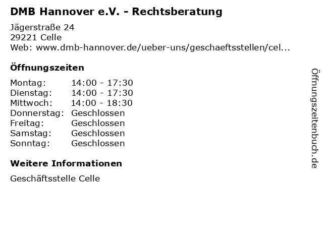 DMB Hannover e.V. - Rechtsberatung in Celle: Adresse und Öffnungszeiten
