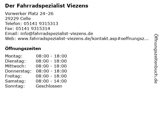 Der Fahrradspezialist Viezens in Celle: Adresse und Öffnungszeiten